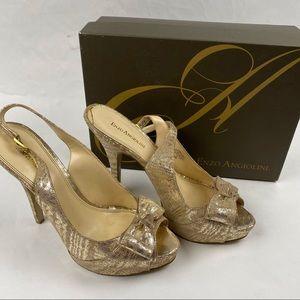 Enzo Angiolini Sweetness Silver/Nude Heels Size 10